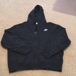 Black nike full zip long sleeve hoodie sweatshirt